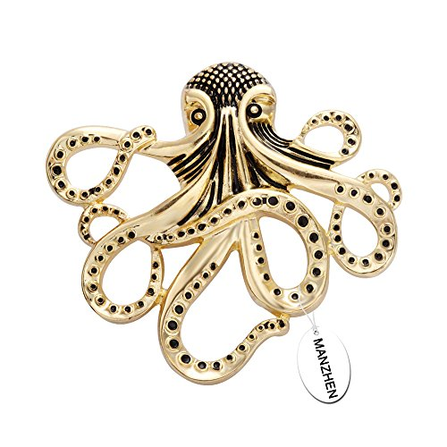 - MANZHEN Trendy Gold Plated Octopus Magnetic Eyeglass Holder for Shirts(Antique Gold)