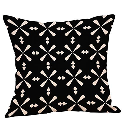 (Throw Pillow Covers, Geometric Print Linen Throw Pillow Case Waist Cushion Cover for Sofa Home Decor 18