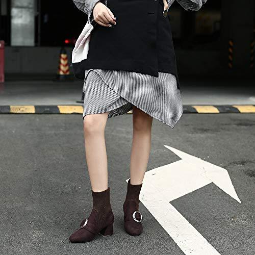 Tacon Botin Elasticas Zapatos De Botin Mujer Sexy ZPFFE Brown Cuadrado Botas Bajo 4qfIfw7