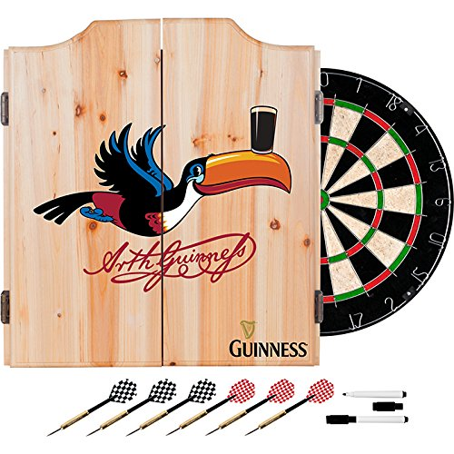 Officially Licensed Guinness Toucan Design Deluxe Wood Cabinet Complete Dart Set by TMG
