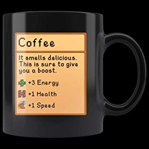 Coffee, Stardew Valley, It Smells Delicious, Energy, Health, Speed - Black 11oz Mug