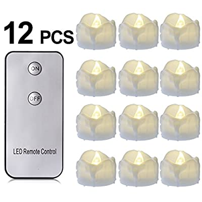 Battery Candles with Remote, 12 Packs PChero Battery Operated Candle LED Unscented Flickering Flameless Tea Lights, Last up to 48 hours, Perfect for Birthday Wedding Party Home Decor - [Warm White]