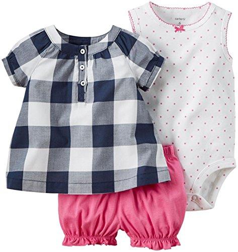 Carter's Baby Girls' 3 Piece Diaper Cover Set 121g389, Navy Gingham, 24 Months ()