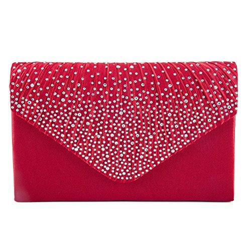 Womens Faux Pearl Cascading Bead Rhinestone Evening Clutch Fashion Purse (Satin Pearl Money Bag)
