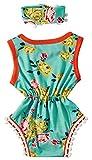 0-6 Months Infant Girls 2pcs Unisex Short Sleeve Baby Boy Girl Green Floral Pattern Tassel Balls Clothing Set Summerr Romper +Headband