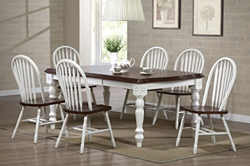 Sunset Trading 7 Piece Extension Dining Set with Arrowback Chairs, Black/Cherry