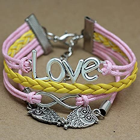 Infinito joyería del encanto pulsera de cuero de las mujeres de moda de la cadena cuerda del colgante pulsera brazalete (10) AccessCube