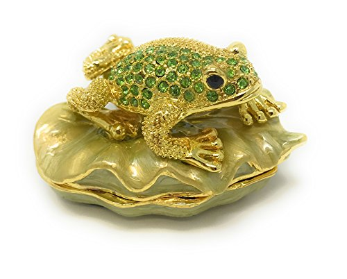 Lily Pad Keepsake Box - Kubla Craft Enameled Golden Frog on Lily Pad Trinket Box, Accented with Austrian Crystals