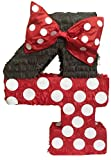 Red & Black Number Four Pinata 23'' Tall