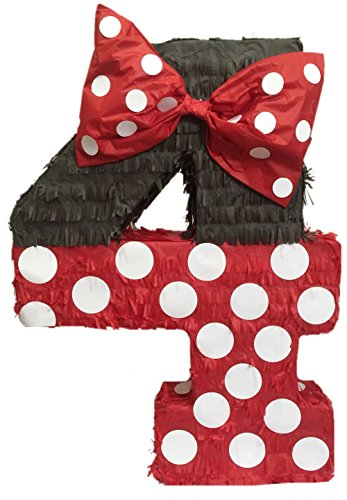 Red & Black Number Four Pinata 23'' Tall by APINATA4U