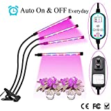 Cycle Timing Auto On/Off Everyday Plant Grow Light, 36W 360° Flexible 3-Head Timing Lamp with 8 Dimmable Levels & 4/8/12 Hours Time Setting for Indoor Greenhouse Gardening Plants (Three-Head)
