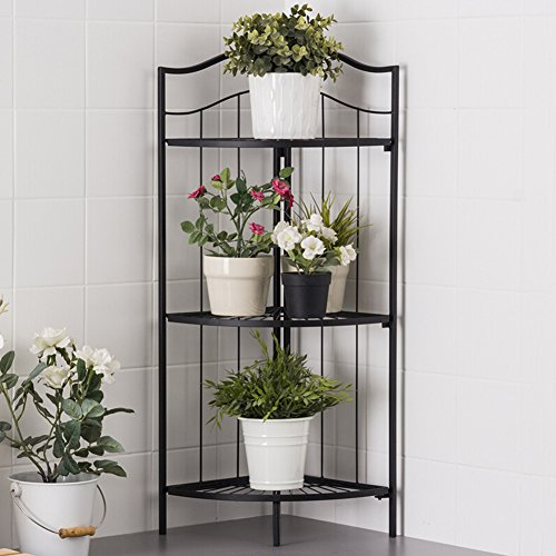 LIANGLIANG Iron Corner Flower Rack Pot Shelf Plant Ladder Floor Display Stand Metal 3-Tier Folding Indoor Living Room Balcony Black, 41.63285.7cm by LLDHUAJIA (Image #1)