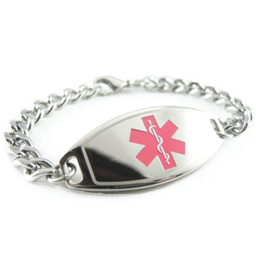 My Identity Doctor – Pre-Engraved Customized Breast Cancer Medical Alert Bracelet, Pink