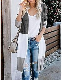 Abrigo largo para mujer con parte frontal abierta, manga larga, suelto, grueso, de punto