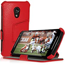 iGadgitz Premium Folio Red PU Leather Case Cover for Motorola Moto G 2nd Generation 2014 XT1068 (G2) with Multi-Angle Viewing Stand + Auto Sleep/Wake + Screen Protector