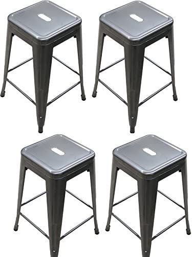 Titan Outdoors Distressed Gunmetal Stamped Stacking Bar Stools Set of 4