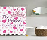 Ambesonne Funny Quotes Girl Baby Shower Birthday Decor Collection, The Princess Showers Here Hearts and Diamond Pearl Crown, Polyester Fabric Bathroom Shower Curtain Set with Hooks