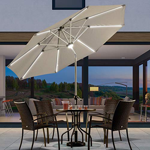 PURPLE LEAF 9 Feet Solar Powered LED Lighted Patio Umbrella with Push Button Tilt and Crank Outdoor Market Umbrella Garden Umbrella, Khaki (Umbrellas Patio Lots Big)