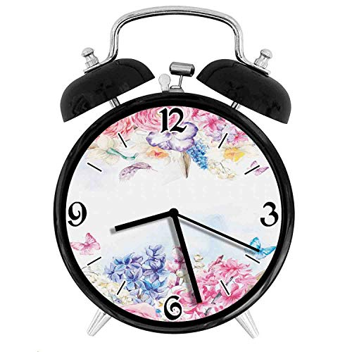 Romantic Garden Roses Flowers Daisies LeavesDesk Clock Home Office Unique Decorative Alarm Ring Clock 4in