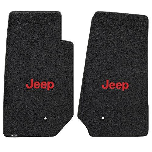 Jeep Wrangler Unlimited 2 Piece Lloyd Mats Velourtex Black Carpet Floor Mats w/Red Jeep Logo - Store Lloyd