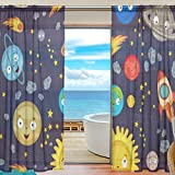 My Little Nest Cartoon Space Cute Solar System Planets Sheer Window Curtains Drapes 55 X 84 Inch Decorative Window Treatments for Bedroom Living Room 2 Panels