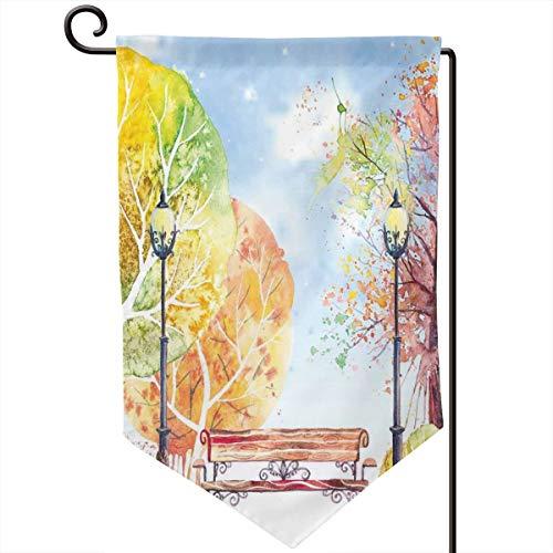 (lsrIYzy Garden Flag,Hand Drawn Watercolor Autumn Park Trees Shrubs Bench and Lanterns Nature Artwork,12.5x18.5 inch)
