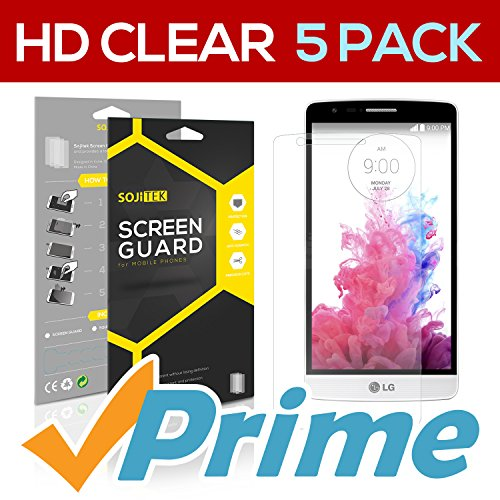 SOJITEK LG G3 S Mini Vigor Beat Premium Ultra Crystal High Definition (HD) Clear Screen Protector [5-Pack] - Lifetime Replacements Warranty + Retail Packaging