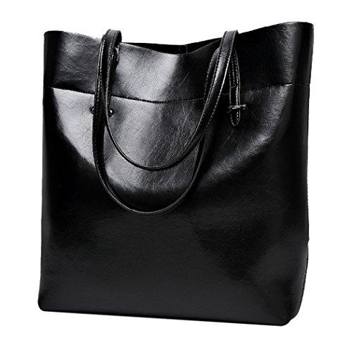 Cowhide Large Shoulder Tote Womens Handbags Bag Purses Fanspack Black Handbags and Capacity wC1qTnOR