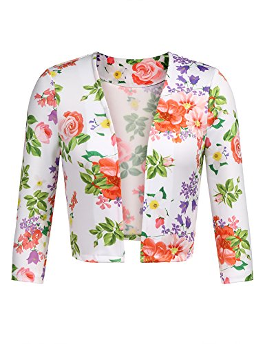 Zeagoo Womens Casual Open Front Cardigan Blazer Long Sleeve Floral Jacket White M -