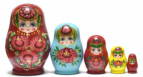 FinerMe Fine Work Russian Nesting Dolls Matryoshka Wood Stacking Nested Set 5 Pieces Handmade Toys for Children Kids Christmas Birthday Home Decoration Halloween Gift( Color B)