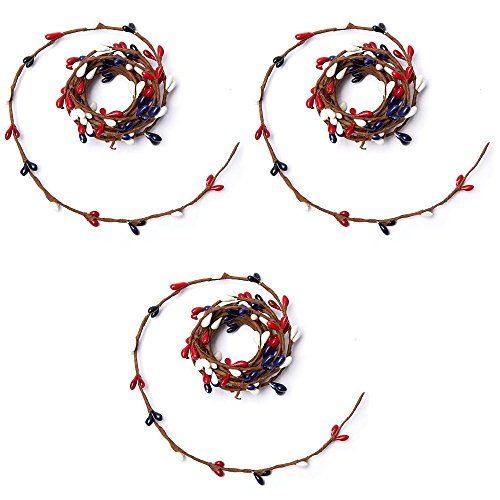 Factory Direct Craft 6 Foot Single Vine Red, White, and Blue Pip Berry Roping Garland (3 Garlands)