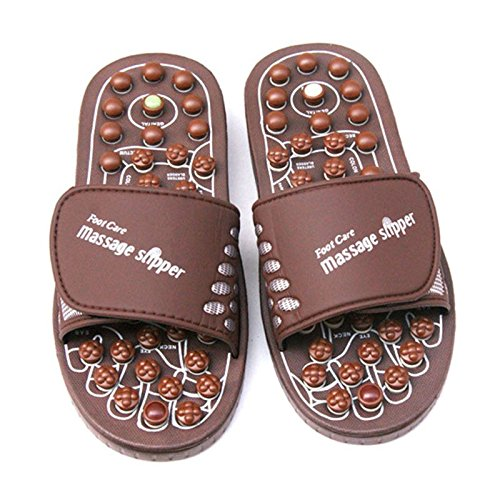 Reflexology Massage Sandals Acupressure Foot Massager Rotating Acupoint Acupuncture Foot Massage Shoes Slippers for Men Women (S/M/L) with Jade Stones and Tourmalines