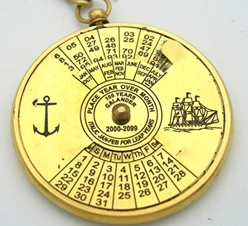 Vintage brass 100 years calendar key ring perpetual calendar, With royal navy engraving, Collectible, nautical, antique, gift to any