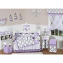 Sweet Jojo Designs 9-Piece Purple, Black and White Princess Baby Girl Bedding Crib Set