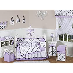 Sweet Jojo Designs Purple, Black and White Princess Baby Girl Bedding 9 piece Crib Set