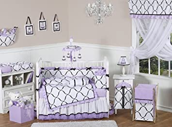 Amazon Com Purple Black And White Princess Baby Girl Bedding 9pc