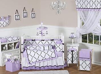 Purple, Black and White Princess Baby Girl Bedding 9pc Crib Set by Sweet  Jojo Designs