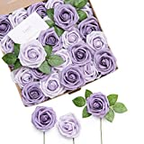 Ling's moment Rose Artificial Flowers Realistic Fake Roses w/Stem for DIY Wedding Bouquets Centerpieces Bridal Shower Party Home Decorations