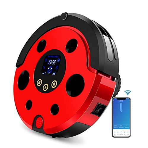 FENGRUI FR-Ladybug Robot Vacuum Cleaner With Docking Station 1200Pa Strong Suction Quiet Self Charging For Hard Floors To Medium Pile Carpets Red