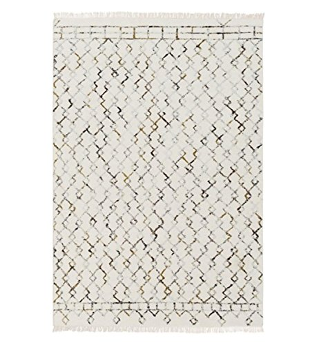 2' x 3' Diamond Locks Sand White, Golden Brown, Black and Gray Hand Crafted Area Throw Rug