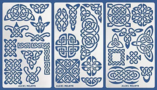 Aleks Melnyk #37 Metal Journal Stencils/Celtic Knot Set/Stainless Steel Stencils Kit 3 PCS/Templates Tool for Wood Burning, Pyrography and - Metal Celtic Knot