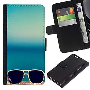 """WINCASE (No Para IPHONE 6, 4.7"""") Cuadro Funda Voltear Cuero Ranura Tarjetas TPU Carcasas Protectora Cover Case Para Apple Iphone 6 PLUS 5.5 - gafas de sol gafas de sol de verano azul verde azulado"""