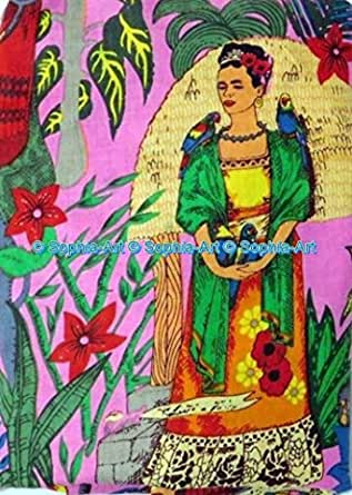 Summer Dresses in Frida Kahlo Print Quilting Cotton Boho Fabric Fabric by the Yard Black COLOR Gypsy Fabric Indian fabric Cotton Fabric