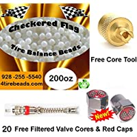 Checkered Flag Tire Balance Beads 200oz Bulk tire balancing beads with 20 FREE filtered cores, red caps,1 gold core tool