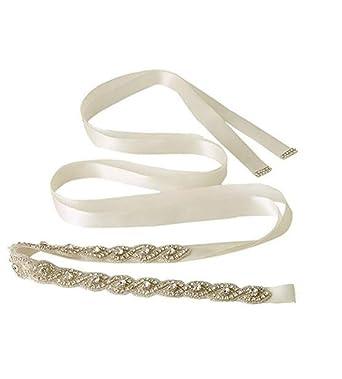 New Luxury Vintage Crystal Bridal Sash Rhinestone Pearl Beaded