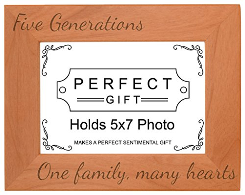 Gifts For All By Rachel Olevia Five Generations One Family Many Hearts Natural Wood Engraved 5x7 Landscape Picture Frame Wood