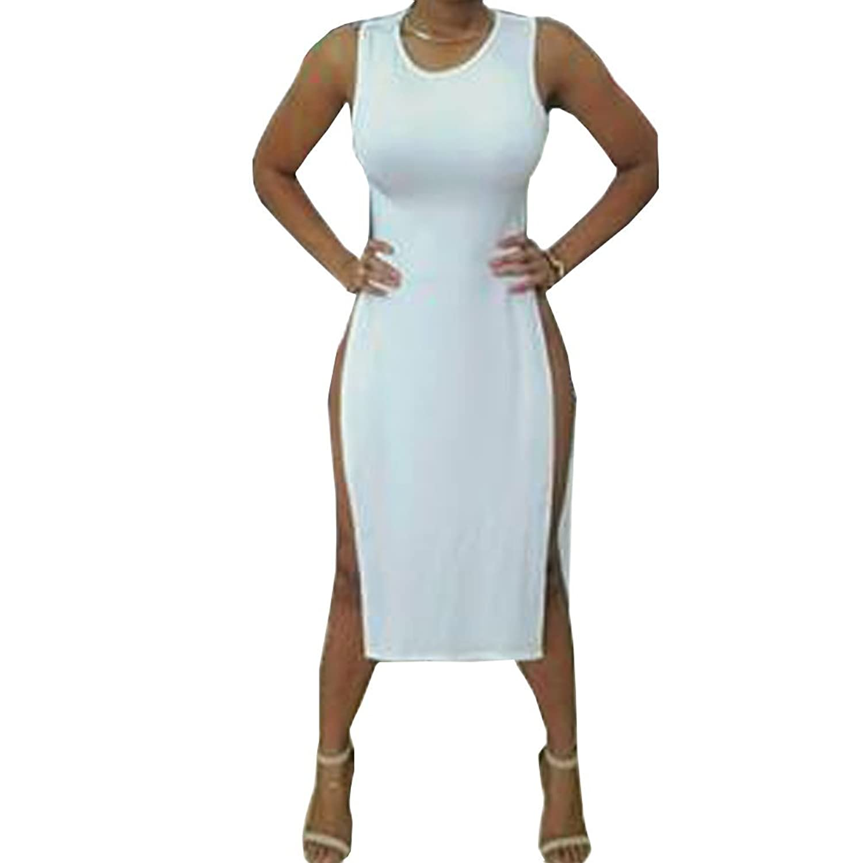LIYT Women's Fashion Round Collar Sleeveless Split Sexy Dress