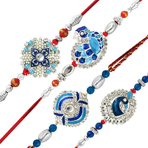 Get 62% Off + Extra 10% Using coupon on Mahi Combo of Peacock Four Rakhis for Dearest Brothers Bracelet