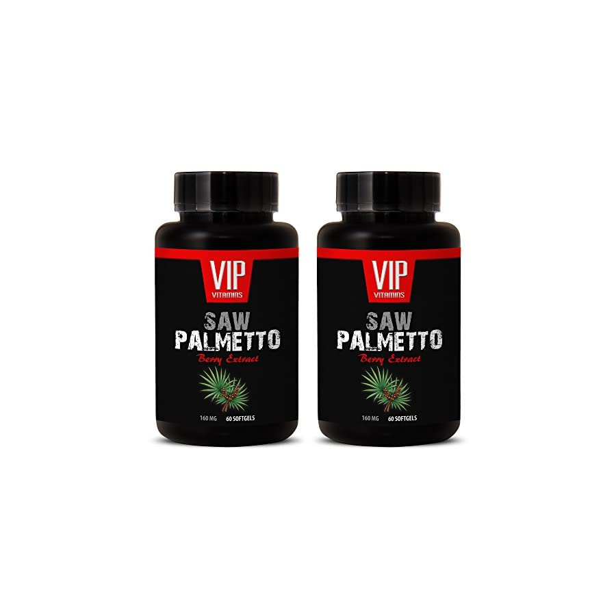 VIP VITAMINS Natural prostate health SAW PALMETTO BERRY EXTRACT 160 MG Saw palmetto extract supplements 2 Bottles 120 Softgels