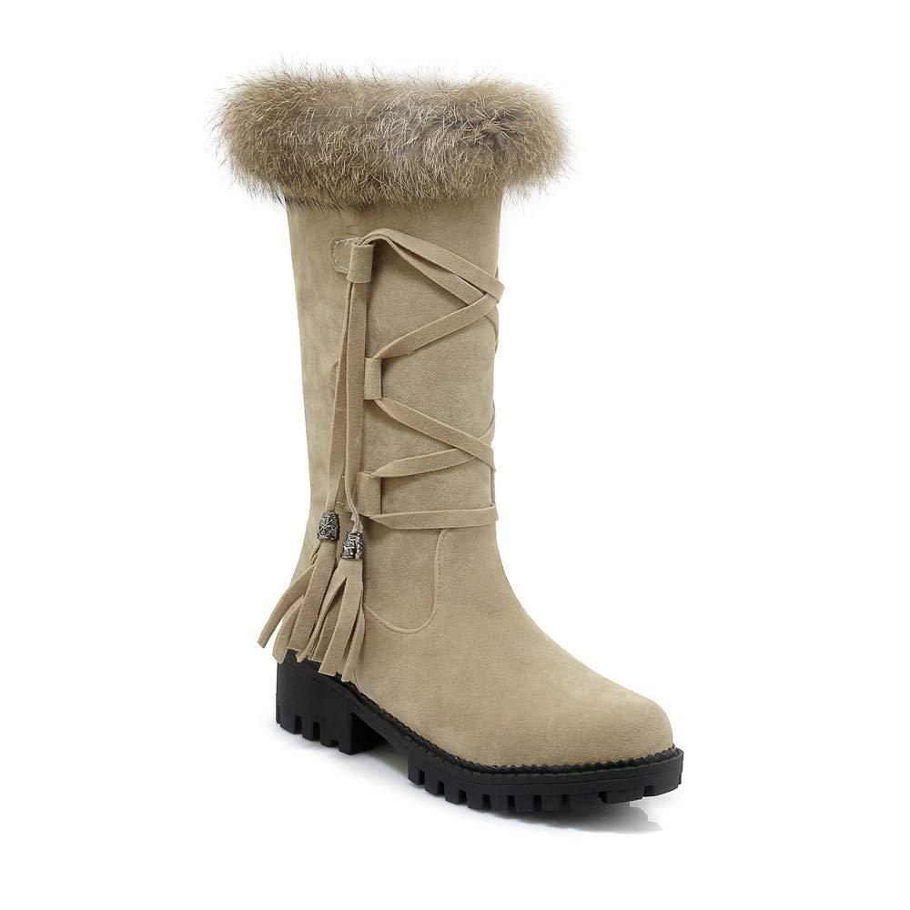 Frauen Plüsch Schnee Stiefel Stiefel Stiefel 2018 Herbst Winter Neue Plattform Spitze Quaste Stiefel Outdoor Baumwolle Stiefel Polieren 34 EU QINGMM bce055